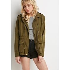 Forever 21 Classic Utility Jacket ($43) ❤ liked on Polyvore featuring outerwear, jackets, brown leather jacket, brown cotton jacket, leather jacket, long sleeve jacket and forever 21