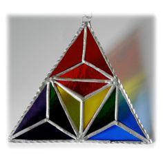 Rainbow Triangles Stained Glass Suncatcher Geometric £16.00