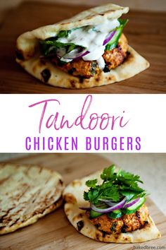 Tandoori Chicken Burgers is an easy and savory dish to whip up. A homemade yogurt sauce to drizzle over the top of your chicken burgers and fixings. Indian Food Recipes, Italian Recipes, Vegetarian Recipes, Healthy Recipes, Healthy Food, Mince Recipes, Savoury Recipes, Healthy Dinners, Appetizer Recipes