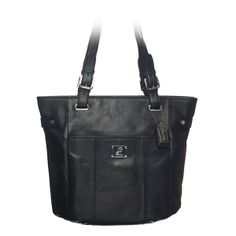 """Bella-Black Leather Bag Beautiful Bella is crafted in rich leather, making it the perfect daily statement bag and suitable for every occasion.  •  Genuine leather •  15"""" L, 13"""" H, 4.25"""" W •  Handles with 10.25"""" drop •  Exterior pocket fits any Grace Adele Clutch"""