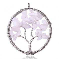 Tree Of Life, Necklace, Pendants, Rose Quartz, Semi Precious Stone, Handmade, Stunning, Gift Idea