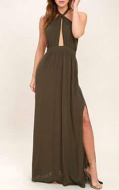 Watch Me Olive Green Maxi Dress via @bestmaxidress