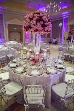 Shades of pink centerpiece ~ Contemporary Luxury Wedding at The Breakers ~ LUVROX Photography, Always Flowers and Events, Sara Renee Events  bellethemagazine.com