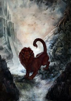 The manticore (Baricos in Greek) is a legendary creature similar to the Egyptian sphinx. It has the body of a red lion, a human head with three rows of . The Manticore Weird Creatures, Fantasy Creatures, Mythical Creatures, Japanese Mythology, Greek And Roman Mythology, Greek Mythological Creatures, Manticore, Monster Drawing, Mermaids And Mermen