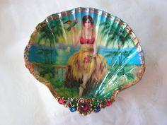 Tropical Hula Island Girl Shell Medium Jewelry Dish by rtistmary