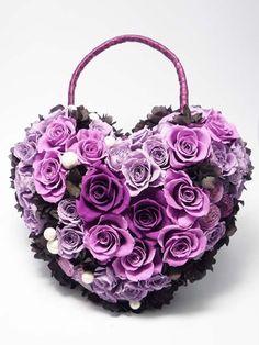 Purple Roses - Heart Wreath / Basket