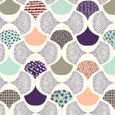 Scalloped Edge   Ivory :: Koi by Rashida Coleman-Hale for Cloud9 Fabrics