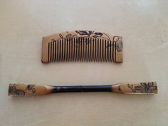 Collectible Japanese gold kogai kanzashi & kushi comb set w/ carved floral dogwood design AS IS