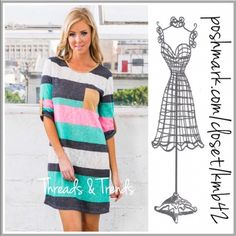 Mint Striped Tunic (S, M, L) Fun spring mint, pink and white striped tunic dress. Featuring 3/4 length sleeves and pocket detail on bodice. Pair with white leggings or wear as a mini dress. Made of a cotton, spandex blend. Size S, M, L Threads & Trends Tops