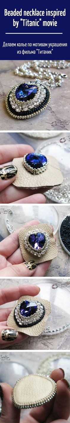 """Beaded necklace inspired by """"Titanic"""" movie. Click on image to see step-by-step…"""