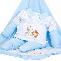 ae61cc19ae0c8 Saída de Maternidade Mydouu Safari Luvas e Boné Azul Bebê