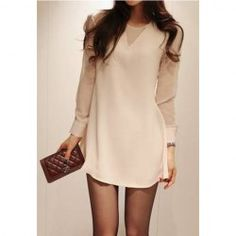 $11.82 Slim Fit Scoop Neck Simple Long Sleeves Chiffon Dress For Women