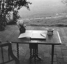 Virginia Woolf's writing table at Monk's House, Sussex, England, 1967.  Photo by Gisele Freund.