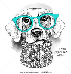Image Portrait of a dog with glasses and knitted scarf. Vector illustration.