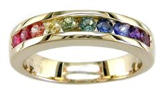 Rainbow Sapphire Rings - L0510 18KT Rainbow Sapphire Band from The Judy Mayfield Collection ♥≻★≺♥