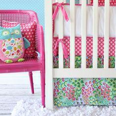 Pink Paradise Flat Skirt Crib Bedding Set
