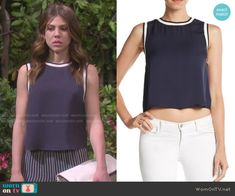 Abigail's navy top on Days of our Lives.  Outfit Details: http://wornontv.net/50630/ #DaysofourLives
