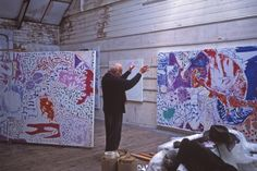 Patrick Heron in his Cornwall home, photo-George Wright Photography Patrick Heron Patrick Heron's Cornwall. Patrick Heron, Artist Workspace, Architecture Artists, Abstract Expressionism, Abstract Art, Art Studios, Artist At Work, Book Art, Artsy