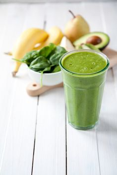Green smoothie aka THE HULK -  super quick breakfast packed with green goodness. Made with spinach, pear, kiwi, avocado and bananas.