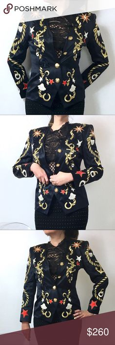 Escada Embroidered Navy Jacket This jacket is a work of art. Period. Fitted style, shapes around your waist with 4 golden buttons engraved with stars. Embroidery all around front in gold, red and dark navy. There is a slight sophisticated shine to the jacket main textile. Lining is white.Shoulder Pads and no pockets. Escada by Margaretha Ley Jacket in pristine condition. Size 34 in EU sizes, fits a 2-34. Made in Germany. I might not take offers since this jacket is so precious, I might want…