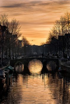 Sunset on chanel in Amsterdam, The Netherlands.