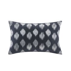 Add a little shine to your home with the INK+IVY Nadia Dot Oblong Pillow. This 12x18 inches oblong pillow features metallic silver embroidery in an ikat dot pattern on a solid navy base for a classic yet modern look for your space.
