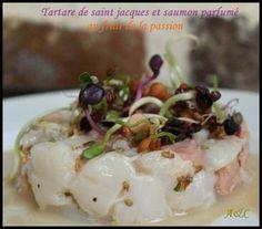 Tartare Saint-Jacques, saumon et fruit de la passion