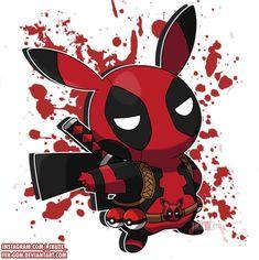 Oc Pokemon, Pokemon Manga, Pokemon Comics, Pokemon Fan Art, Cute Deadpool, Deadpool Pikachu, Deadpool Art, Pikachu Drawing, Pikachu Art