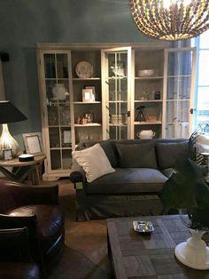 Soggiorno colore pareti divano e libreria
