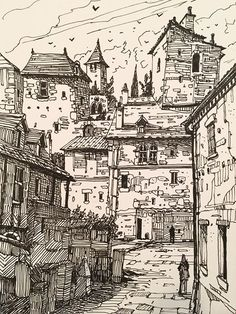 Landscape Drawings, Landscape Art, Landscapes, Cartoon Sketches, Art Sketches, Ink Pen Drawings, Environment Concept Art, Urban Sketching, Environmental Art