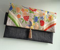 Japanese Patchwork, Japanese Fabric, Japanese Art, Handmade Clutch, Handmade Handbags, Japan Bag, Japan Crafts, Vintage Clutch, Fabric Purses