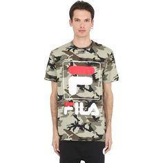 Fila Urban Men Camo Printed Cotton Jersey T-shirt ($48) ❤ liked on Polyvore featuring men's fashion, men's clothing, men's shirts, men's t-shirts, camouflage, mens t shirts, mens crew neck t shirts, mens camo t shirt, j crew mens shirts and mens camouflage shirts