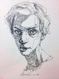 """Drawing by saera: 사진 """" art """" in 2019 bleistiftzeichnungen, s Ink Illustrations, Illustration Sketches, Drawing Sketches, Art Drawings, Pen Sketch, Sketching, Portrait Sketches, Portrait Art, Illustration Art Nouveau"""