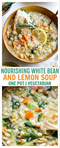 Nourishing White Bean and Lemon Soup is a vegetarian, fiber-filled meal ready in just 40 minutes. A one-pot meal perfect for make-ahead lunches or easy weeknight dinner. More from my siteNourishing White Bean and Lemon Soup One Pot Vegetarian, Vegetarian Dinners, Vegetarian Recipes, Healthy Vegetarian Dinner Recipes, Lemon Recipes Dinner, Vegan Food, Healthy Soup Recipes, Veggie Recipes, Cooking Recipes