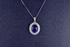Elegant 18K Solid White Gold Natural Blue Tanzanite & Full Cut Diamond Pendant Jewelry, View Gold Jewelry, First Lady Product Details from Guangzhou First Lady Jewelry Co., Ltd. on Alibaba.com