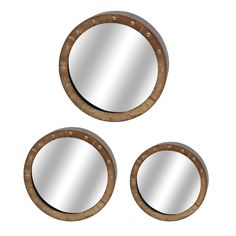 Zeckos - 3 Down Set of Three Distressed Wooden Round Wall Mirrors, $209.90 (http://zeckos.com/3-down-set-of-three-distressed-wooden-round-wall-mirrors/)