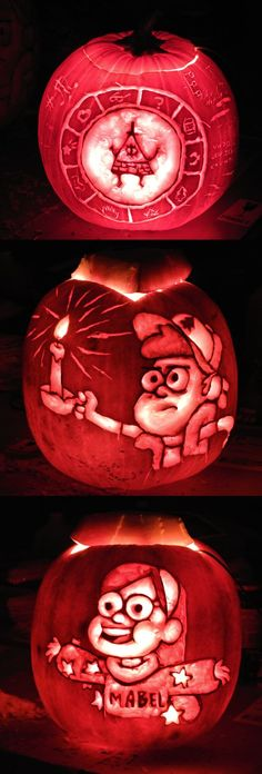 Gravity Falls Pumpkins: my brother is obsessed with gravity falls, what a fun project this would be for him!