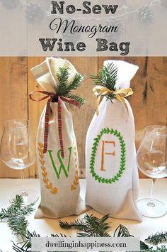 no sew monogram wine bag, crafts, diy, seasonal holiday decor
