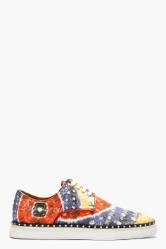 DSQUARED2 Red Multi-Print Canvas Sneakers