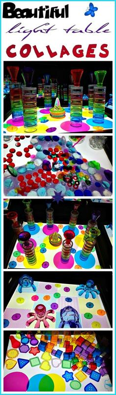 light table collages - creative light table play