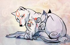Amaterasu and Chibiterasu - Mother and son