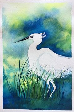White Heron by IndigoStreetStudio on Etsy