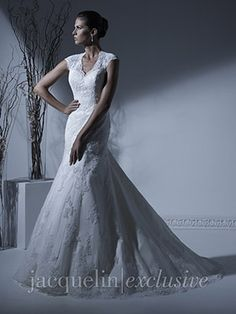 Beautiful fit and flare dress with keyhole diamond shaped cut out back Wedding Dress - 19913