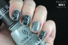 #ablecs15 Week 2: Shades of Grey. China Glaze - Intelligence, Integrity & Courage / Konad - Black / Picture Polish - Heavy Metal / BP-02.
