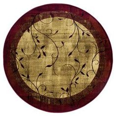 allen + roth Tinsley Red Round Woven Area Rug (Common: 8 x 8; Actual: 92-in W x 92-in L)