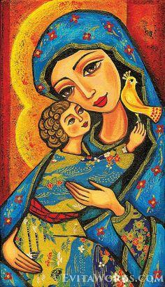 giclee: Madonna child, Virgin Mary Jesus painting, mother child, christian folk art, motherhood, beauty painting, feminine decor, 7x12+