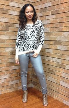 Silver Flying Monkey Skinnies with an Animal Print Sweater by Ellison ~ Apricot Lane Boutique South Florida