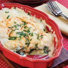 Spinach-Ravioli Lasagna - Easy One-Dish Dinner Recipes - Southern Living  If you want to make it more substantial, serve with some pieces of Italian Sausage.