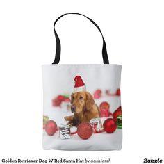 Golden Retriever Dog W Red Santa Hat Tote Bag