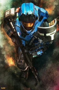 """Iuza's """"Carter"""" from Halo Reach. I miss these days although Kat was my fav noble.I was really upset when she died. Halo Reach, Armor Concept, Concept Art, Video Game Art, Video Games, Gundam, Science Fiction, Transformers, Halo Game"""